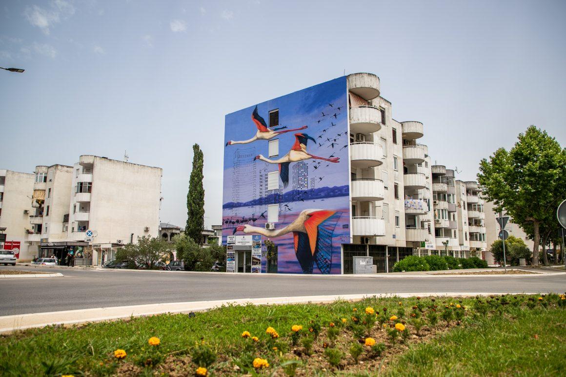 Mural flamingosa predstavlja simbol Ulcinjske solane i Ulcinja